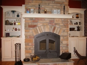 Wrap-Around Beam Mantel Side Cabinets